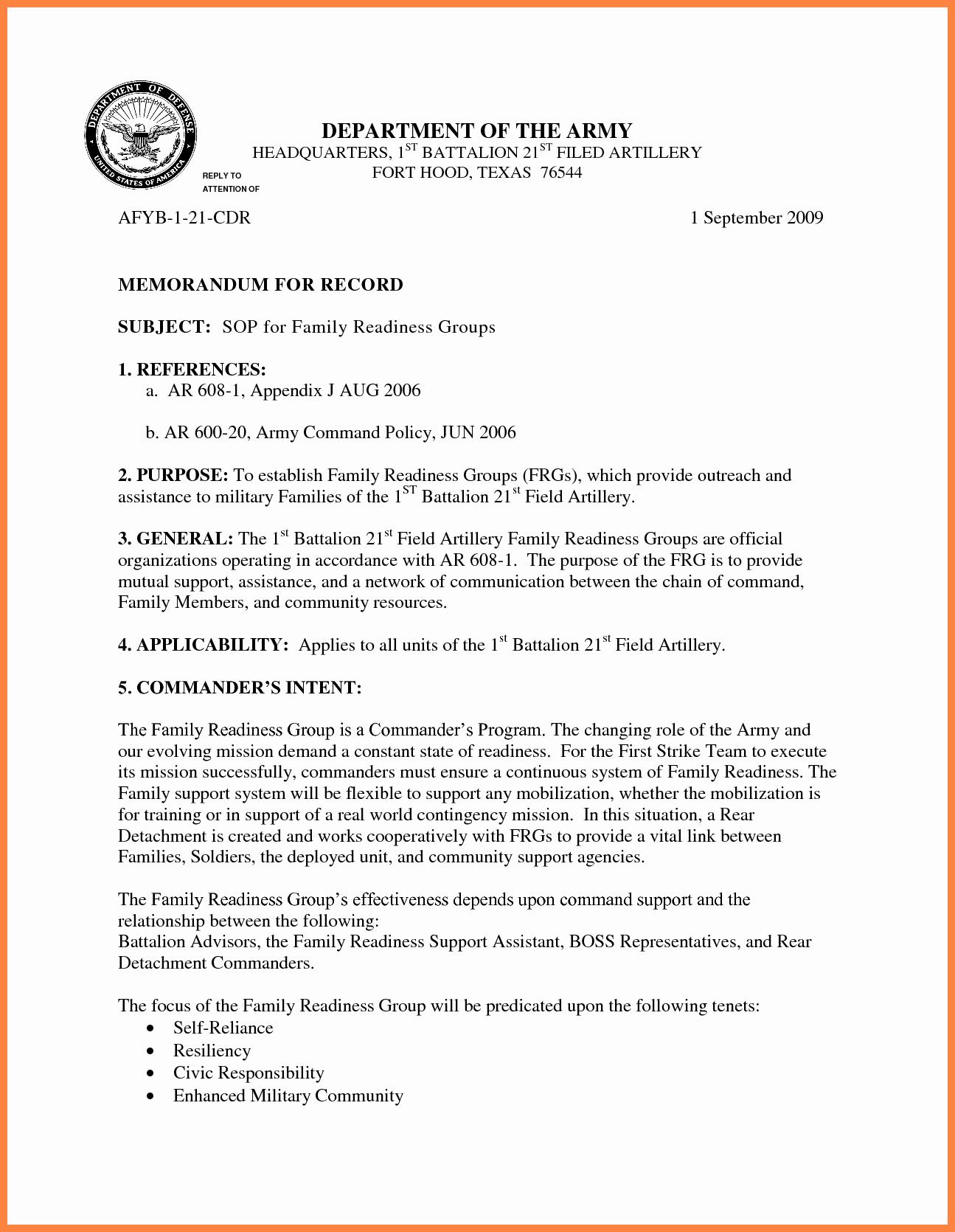 Memorandum Of Record Template Fresh 9 Memorandum for Record Army