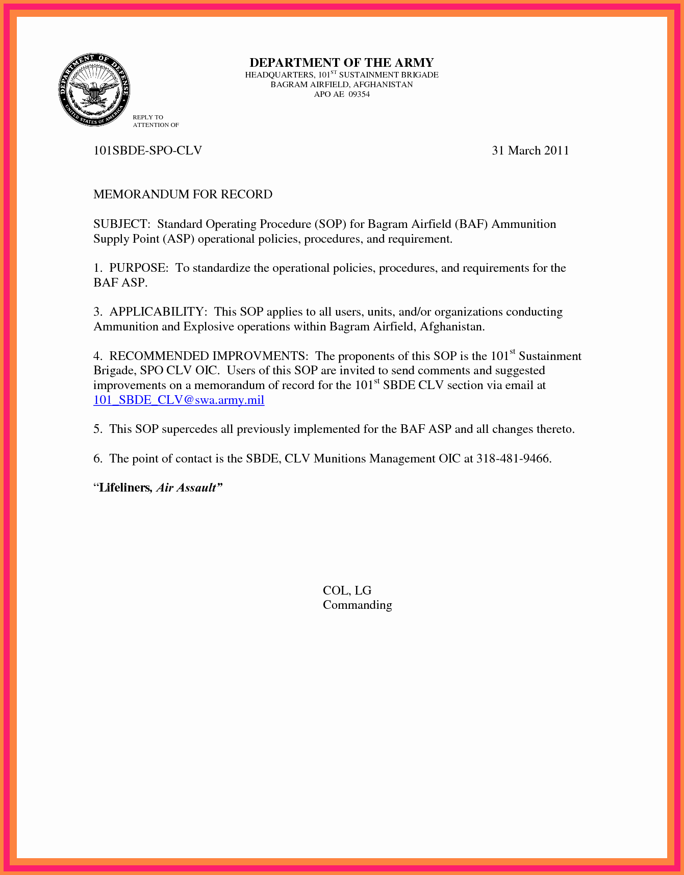 Memorandum Of Record Template Inspirational 6 Memorandum for Record Army Example