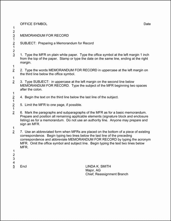 Memorandum Of Record Template New 12 Best Of Ar 25 50 Memorandum Example Ar 25 50