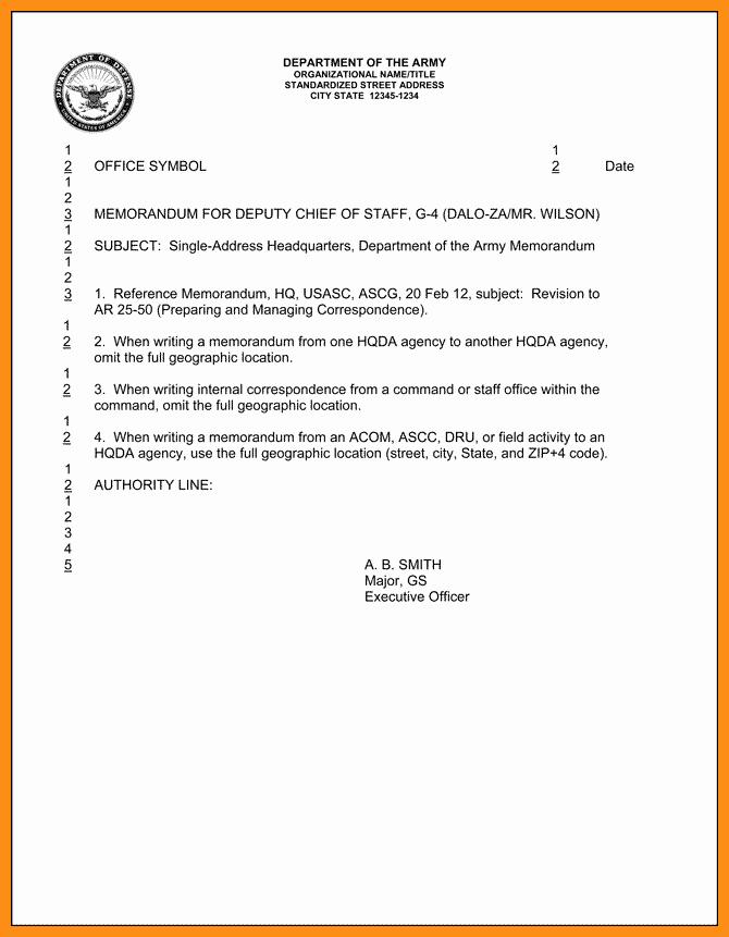 Memorandum Of Record Template Unique Army Example Memorandum for Record