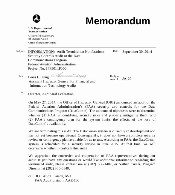 Memorandum Of Sale Template Beautiful 15 Audit Memo Templates – Free Sample Example format