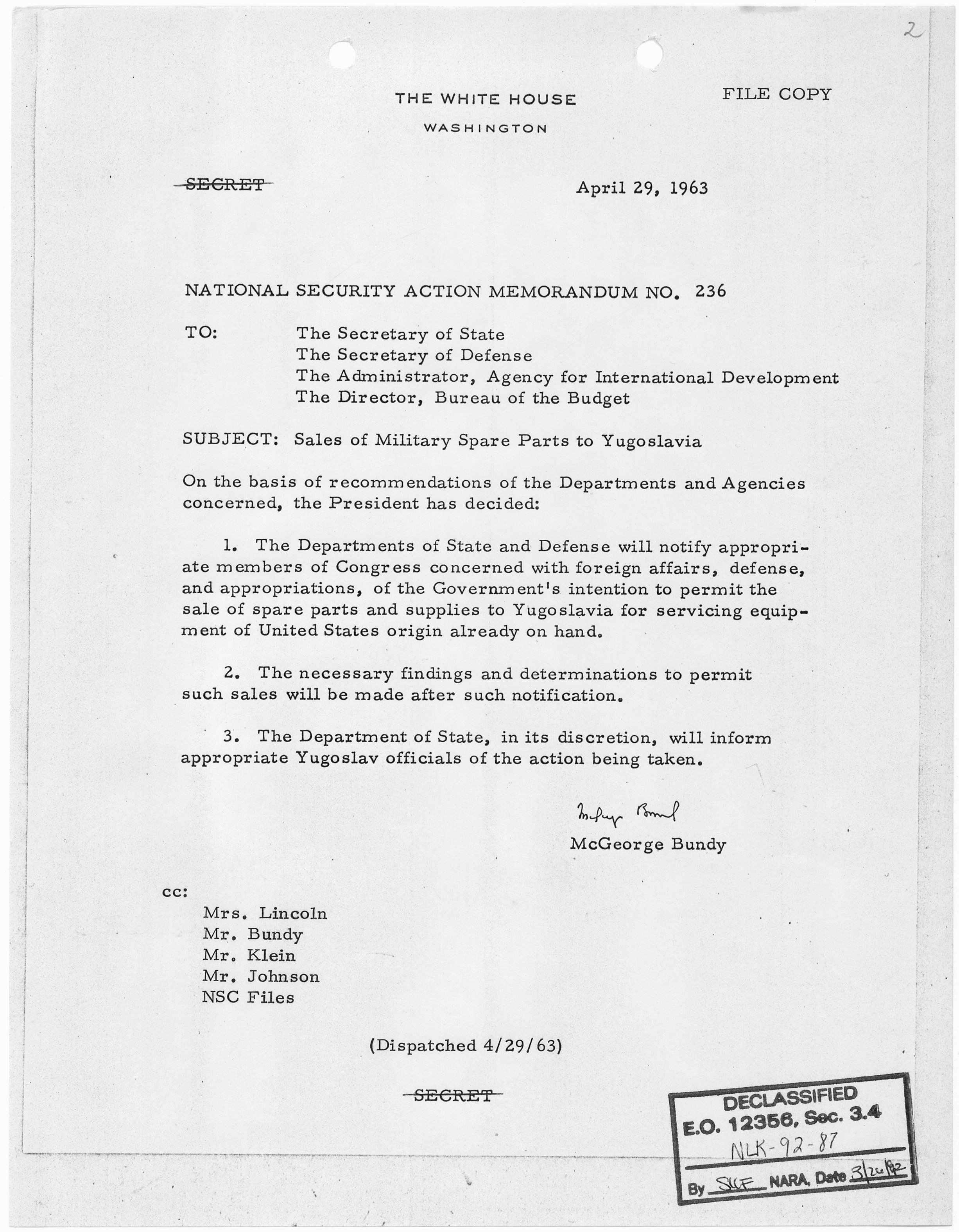 Memorandum Of Sale Template Beautiful File National Security Action Memorandum No 236 Sales Of