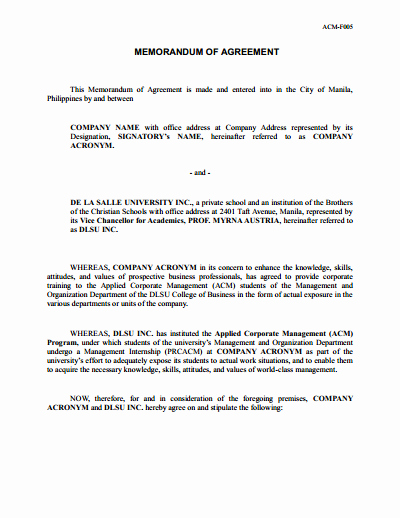 Memorandum Of Sale Template Fresh Memorandum Of Understanding Download Edit Fill & Print
