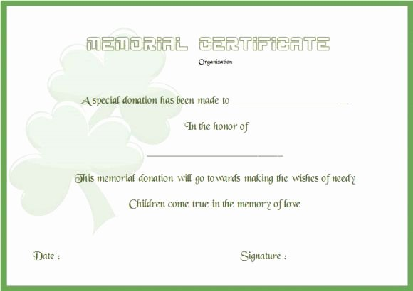 Memorial Donation Letter Template Awesome Donation In Memory Certificate Template