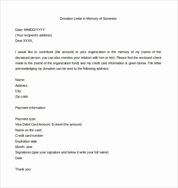 Memorial Donation Letter Template Awesome Memorial Donation Letter Template Invitation Template
