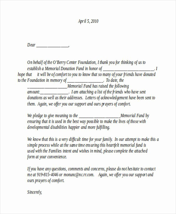 Memorial Donation Letter Template Beautiful 44 Acknowledgement Letter Examples & Samples Doc