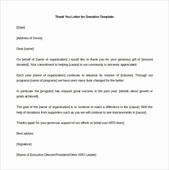 Memorial Donation Letter Template Fresh 9 Donation Letter Templates – Free Sample Example format