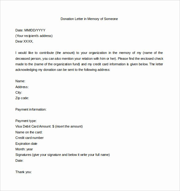 Memorial Donation Letter Template Lovely 9 Donation Letter Templates – Free Sample Example format