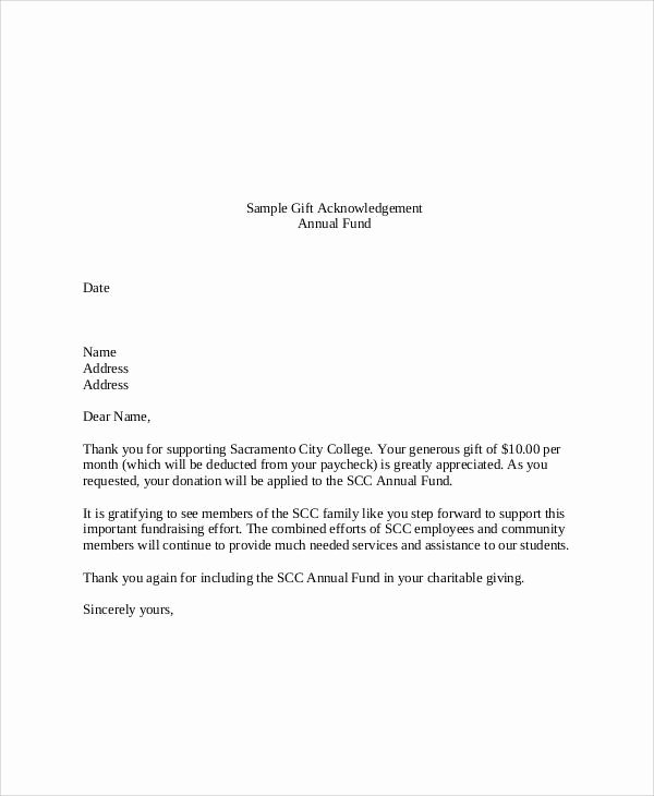 Memorial Donation Letter Template New Donation Acknowledgement Letter as Letter Donation