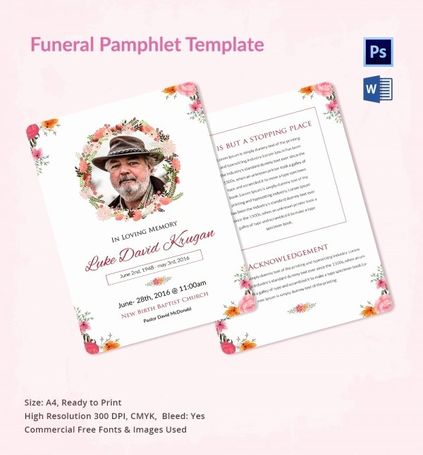 Memorial Pamphlet Template Free Awesome 5 Funeral Pamphlet Templates Word Psd format Download