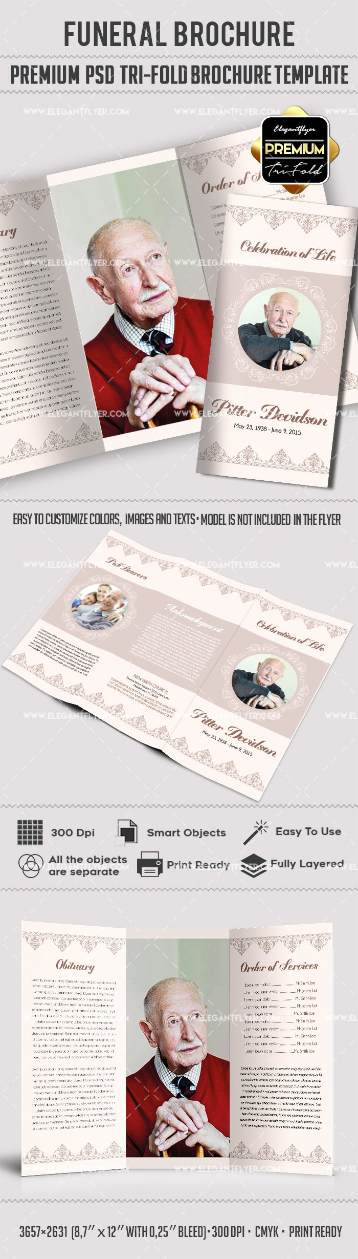 Memorial Pamphlet Template Free Awesome Tri Fold Funeral Service Brochure Template – by Elegantflyer