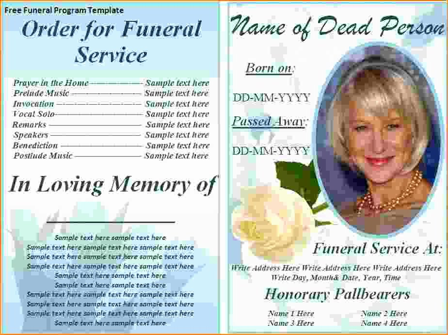 Memorial Pamphlet Template Free Beautiful 5 Free Funeral Program Template for Word