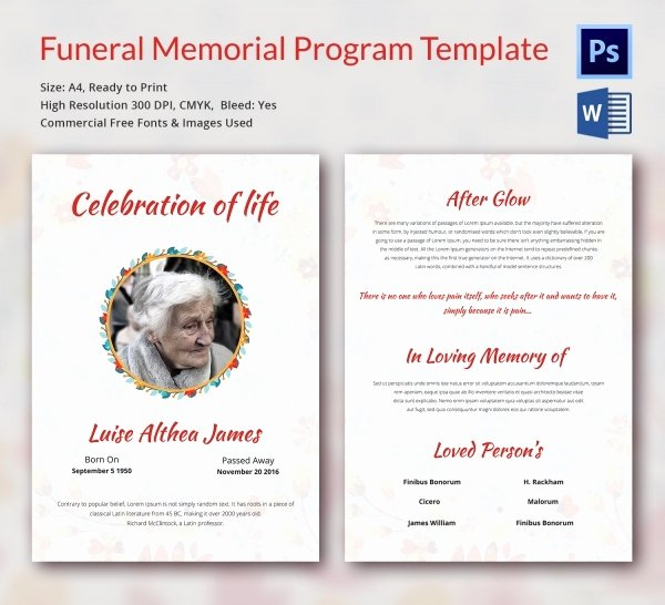 Memorial Pamphlet Template Free Beautiful 5 Funeral Memorial Program Templates Word Psd format