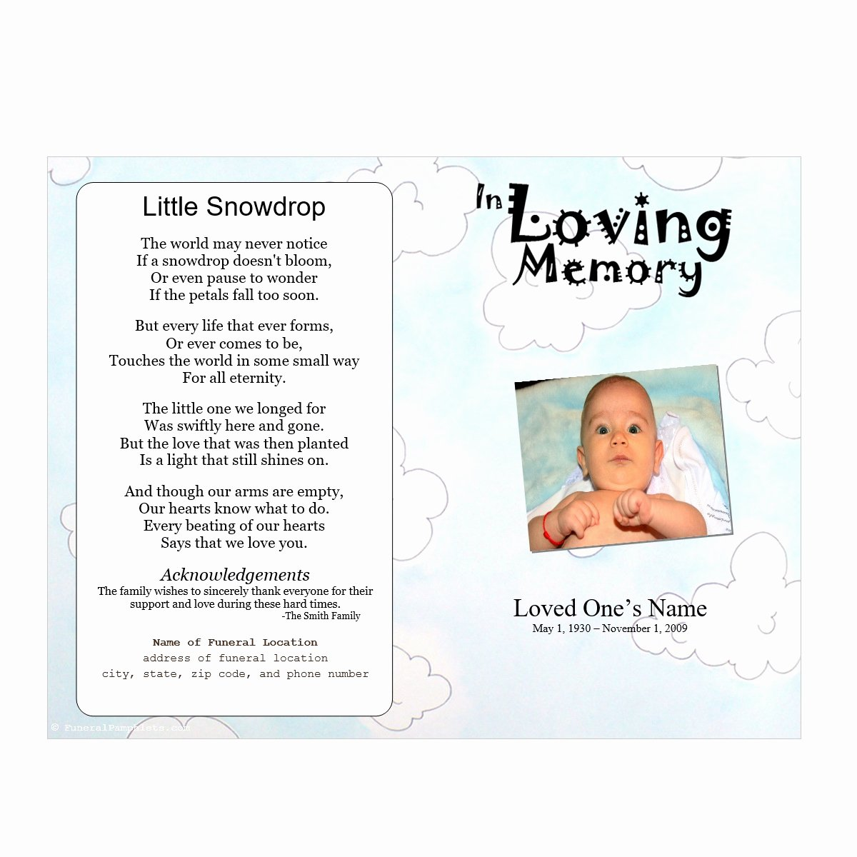 Memorial Pamphlet Template Free Beautiful Clouds Youth Memorial Program Funeral Pamphlets