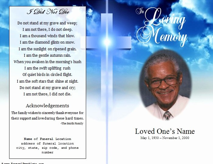 Memorial Pamphlet Template Free Beautiful Cross Single Fold Funeral Program Funeral Pamphlets
