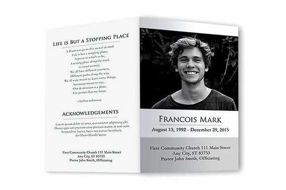 Memorial Pamphlet Template Free Elegant Funeral Program Black & White Brochure Templates On