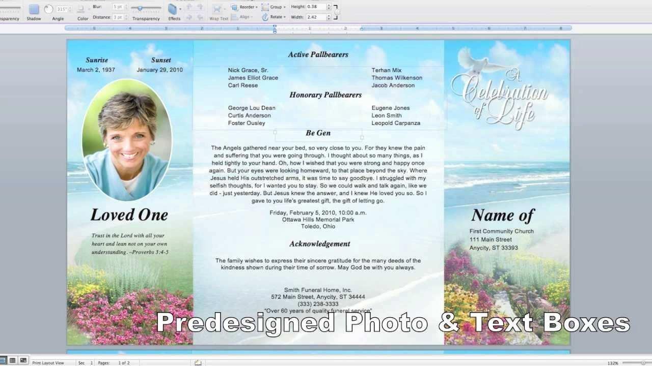 Memorial Pamphlet Template Free Fresh Beautiful Free Editable Funeral Program Template Uk