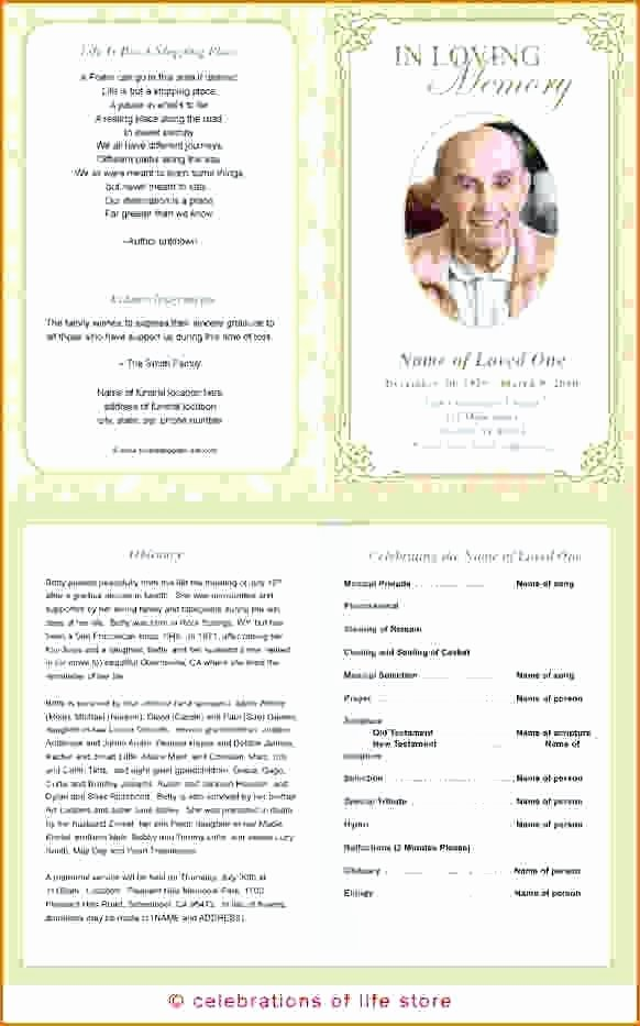 Memorial Pamphlet Template Free Inspirational Funeral Program Black White Template Memorial Brochure