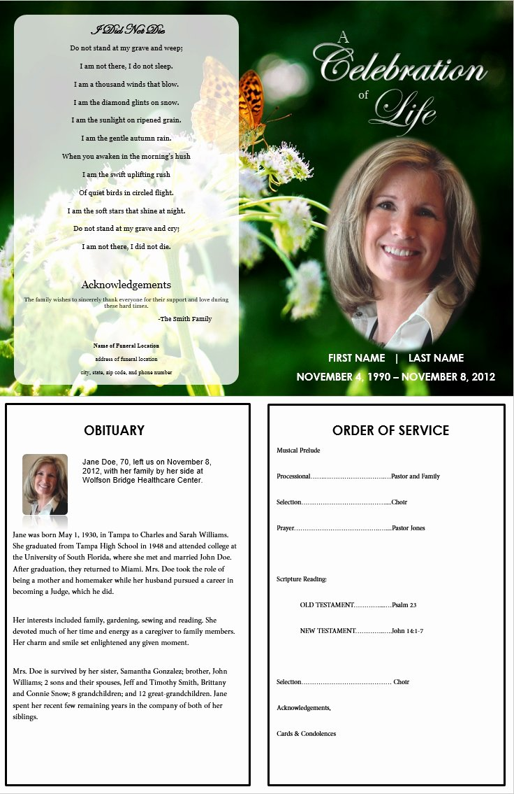 Memorial Pamphlet Template Free Lovely butterfly Memorial Program Funeral Pamphlets