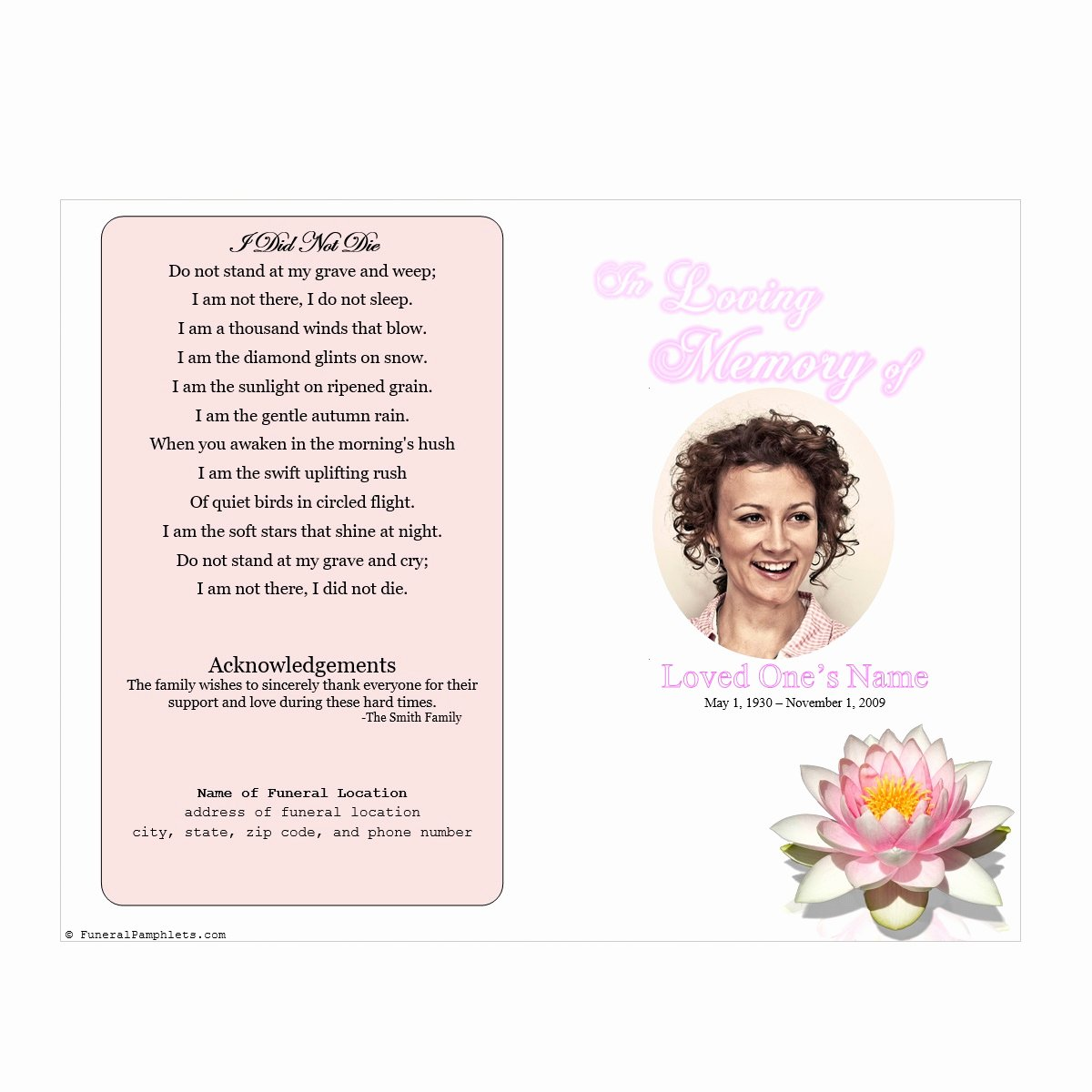 Memorial Pamphlet Template Free Lovely Lily Single Fold Memorial Program Funeral Pamphlets