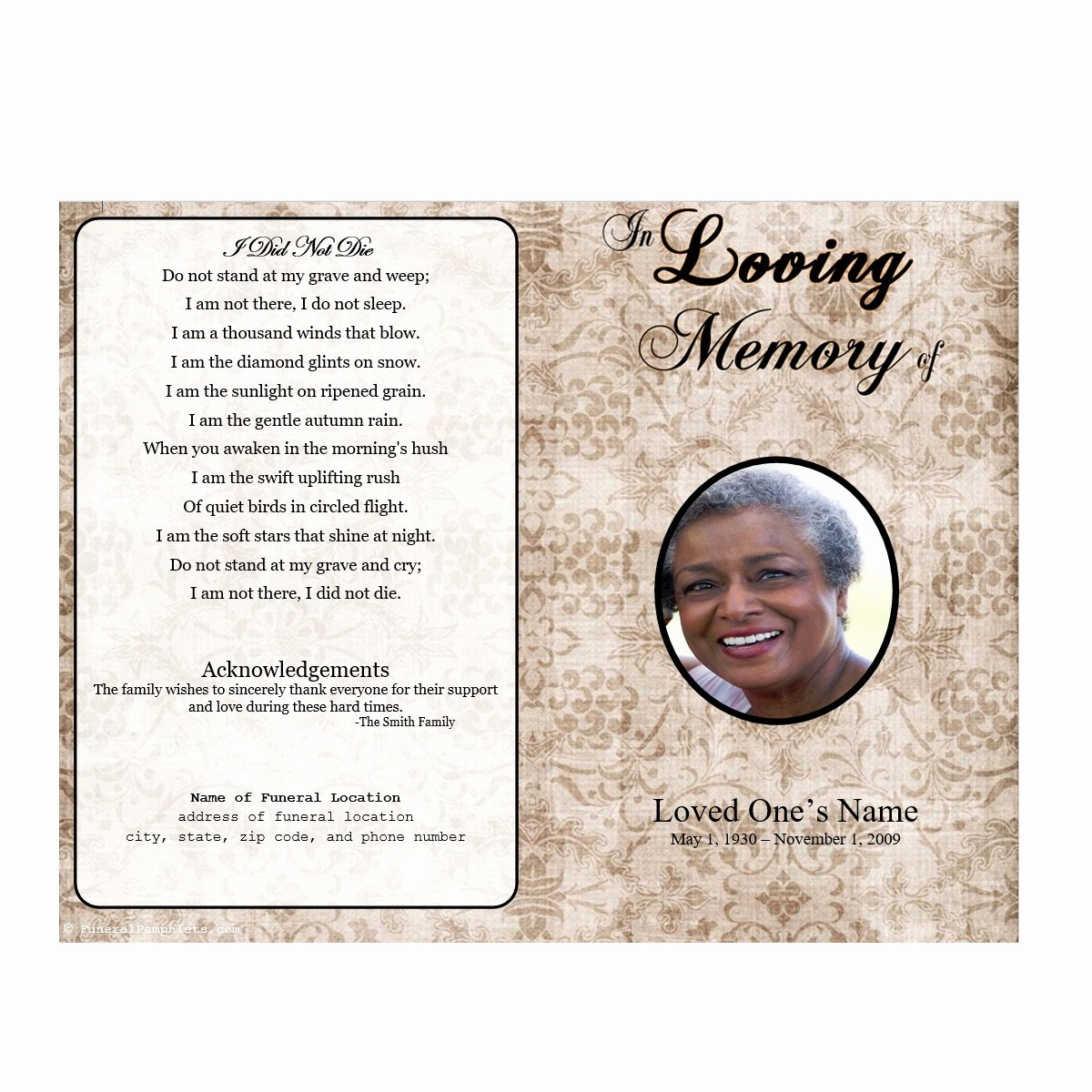 Memorial Pamphlet Template Free Lovely Obituary Program Template Letter Examples Funeral Samples