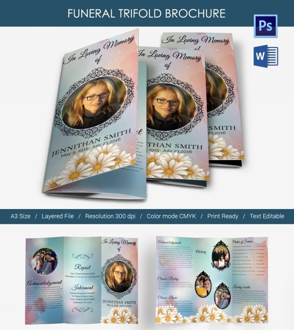 Memorial Pamphlet Template Free Luxury 5 Funeral Trifold Brochure Templates Word Psd format