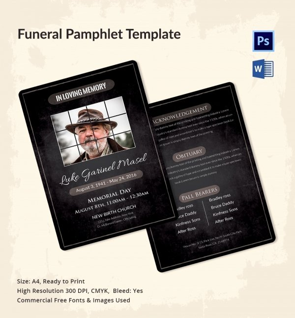 Memorial Pamphlet Template Free New 5 Funeral Pamphlet Templates Word Psd format Download