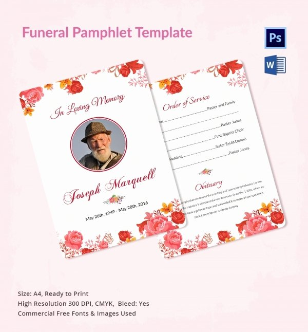 Memorial Pamphlet Template Free New Funeral Program Template 16 Word Psd Document Download