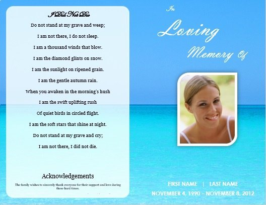 Memorial Pamphlet Template Free New Single Fold Beach Funeral Program Template for