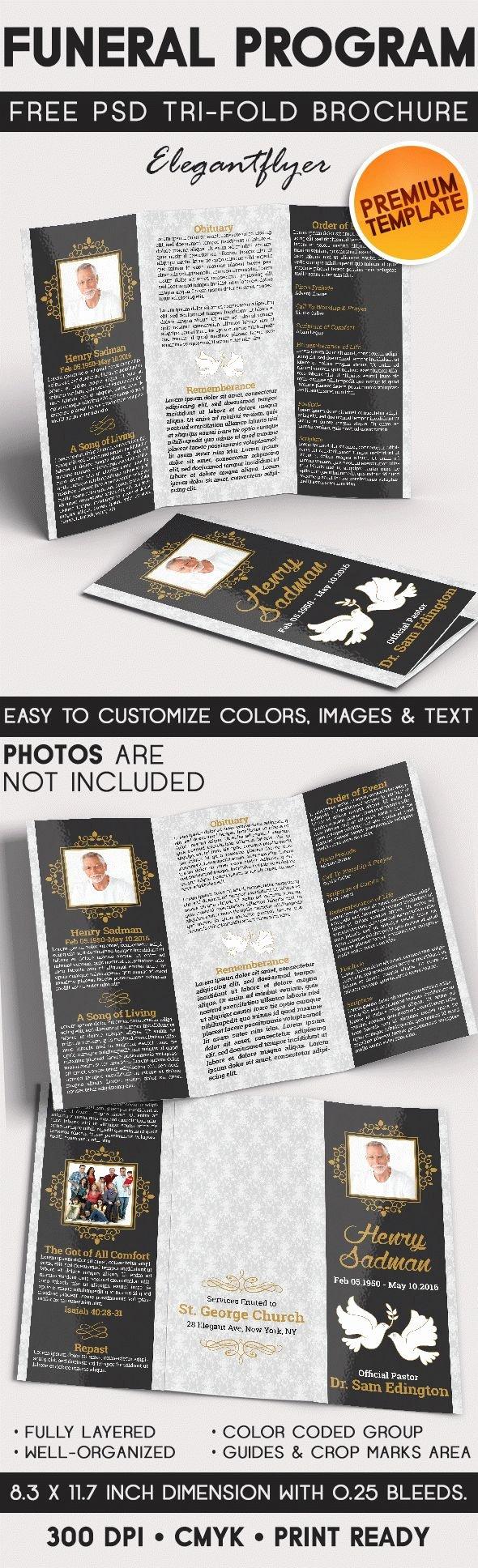 Memorial Pamphlet Template Free New Tri Fold Brochure for Funeral Program – by Elegantflyer
