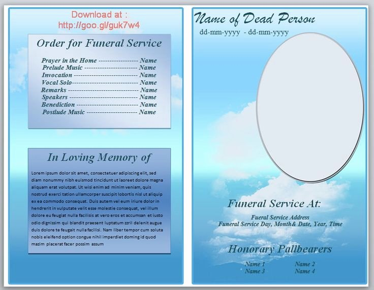 Memorial Pamphlet Template Free Unique 73 Best Printable Funeral Program Templates Images On