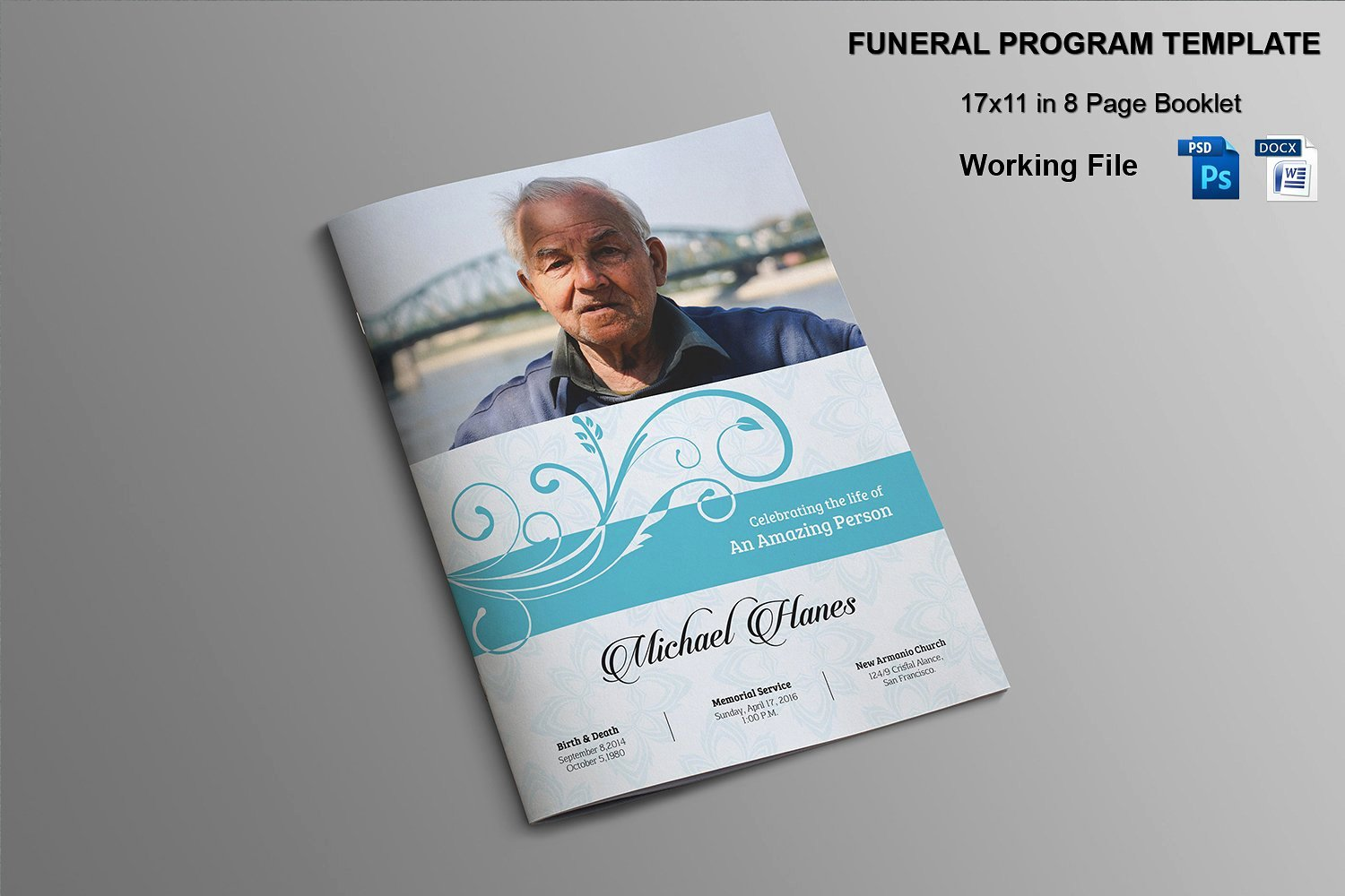 Memorial Pamphlet Template Free Unique 8 Page Funeral Booklet Template V482 Brochure Templates
