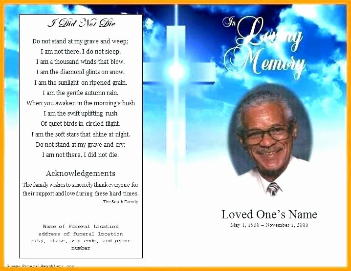 Memorial Pamphlet Template Free Unique Free Funeral Program Template Word 6 for Job Resumes