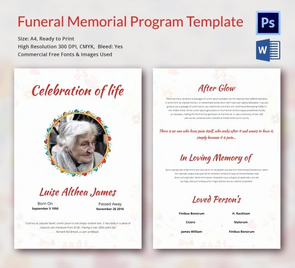 Memorial Pamphlet Template Free Unique Funeral Program Template 16 Word Psd Document Download