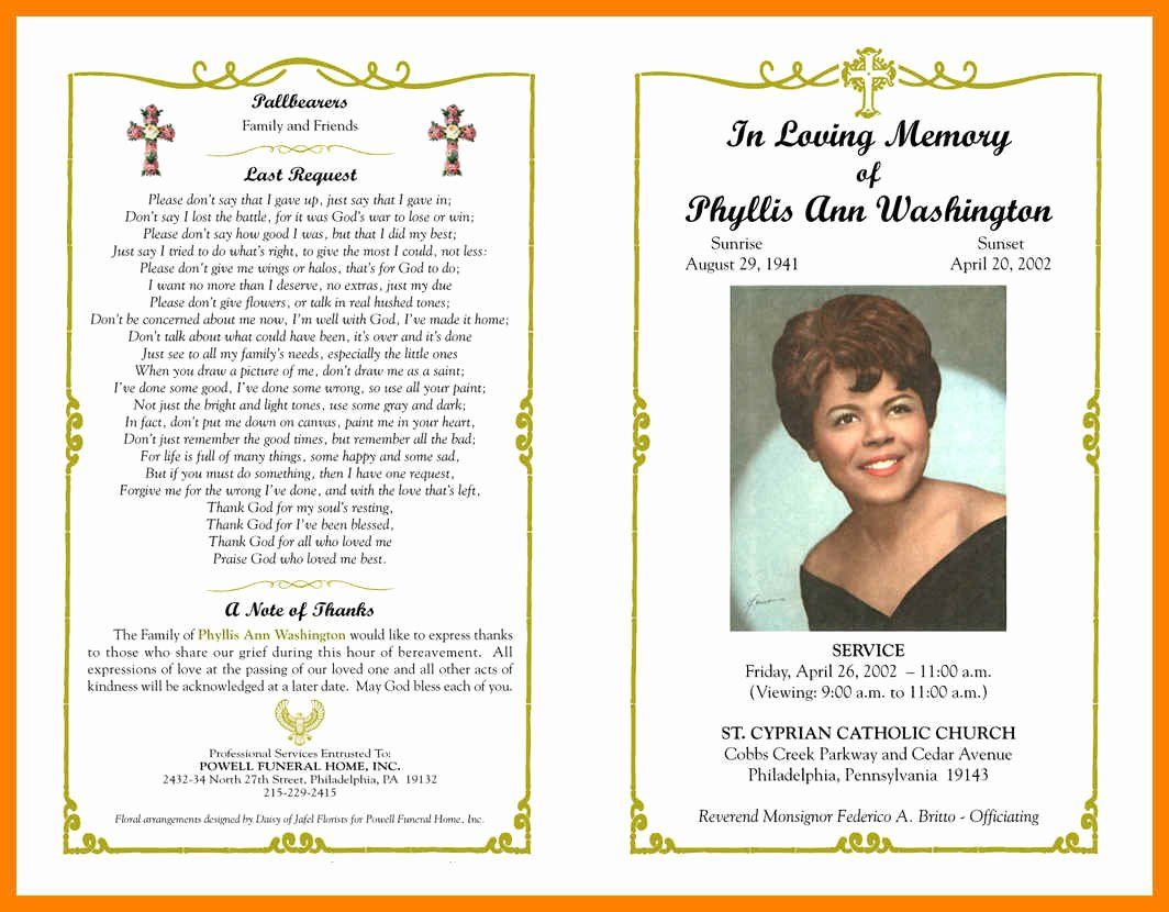 Memorial Pamphlet Template Free Unique Religious Obituary Samples