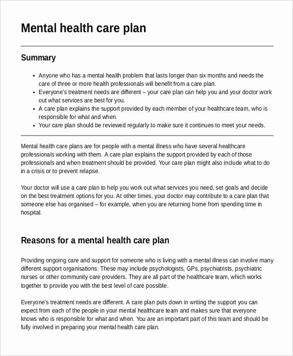 Mental Health Crisis Plan Template Awesome Mental Health Care Plan Templates 8 Free Sample