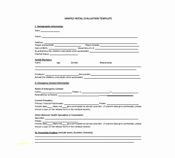 Mental Health Intake form Template Awesome Medical Intake form Template Free Medical Intake form