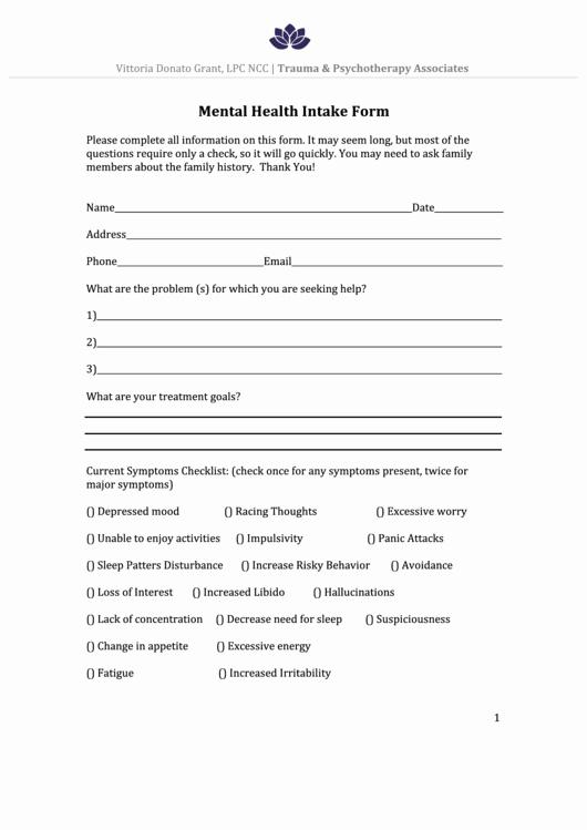 Mental Health Intake form Template Fresh Mental Health Intake form Printable Pdf
