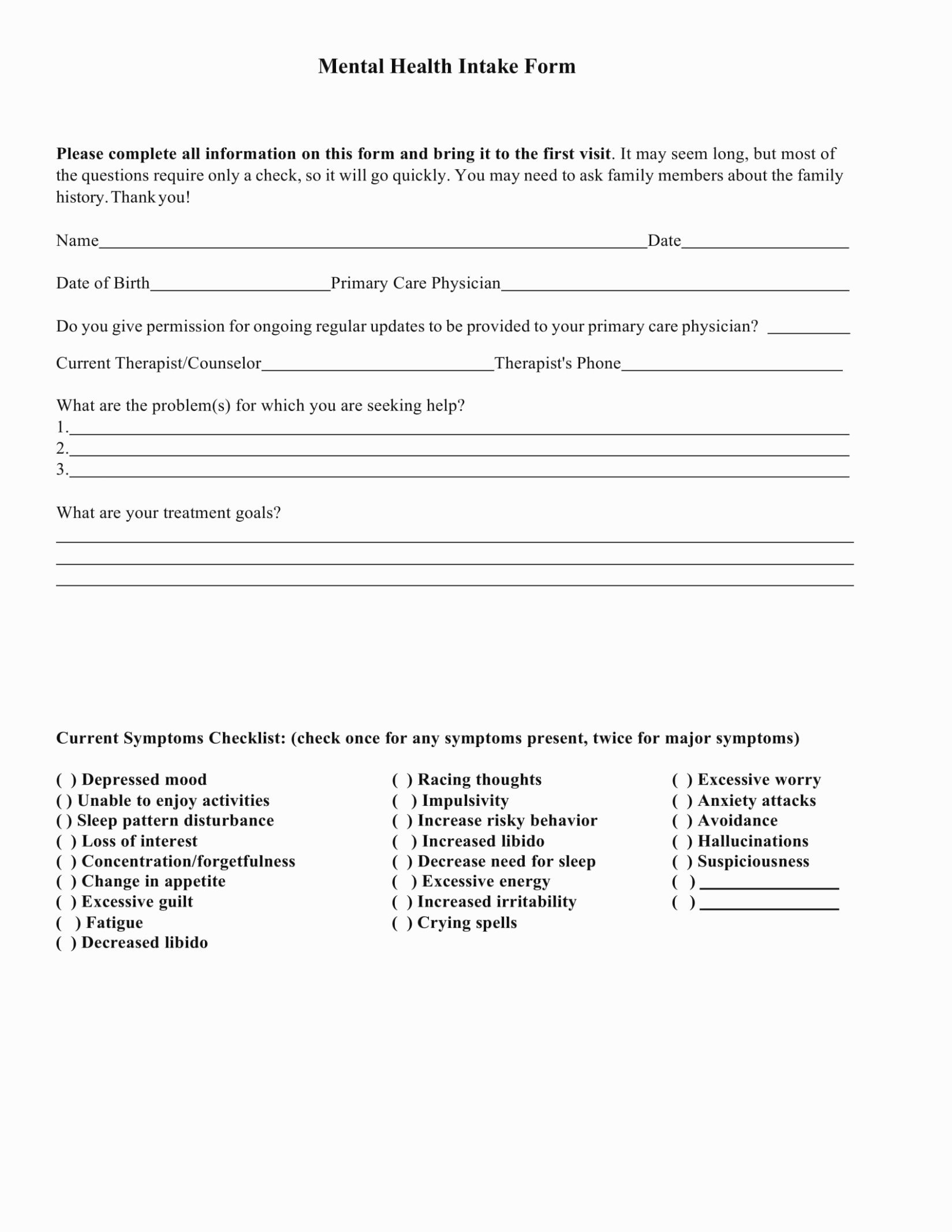 Mental Health Intake form Template Inspirational Eliminate Your Fears and Doubts About