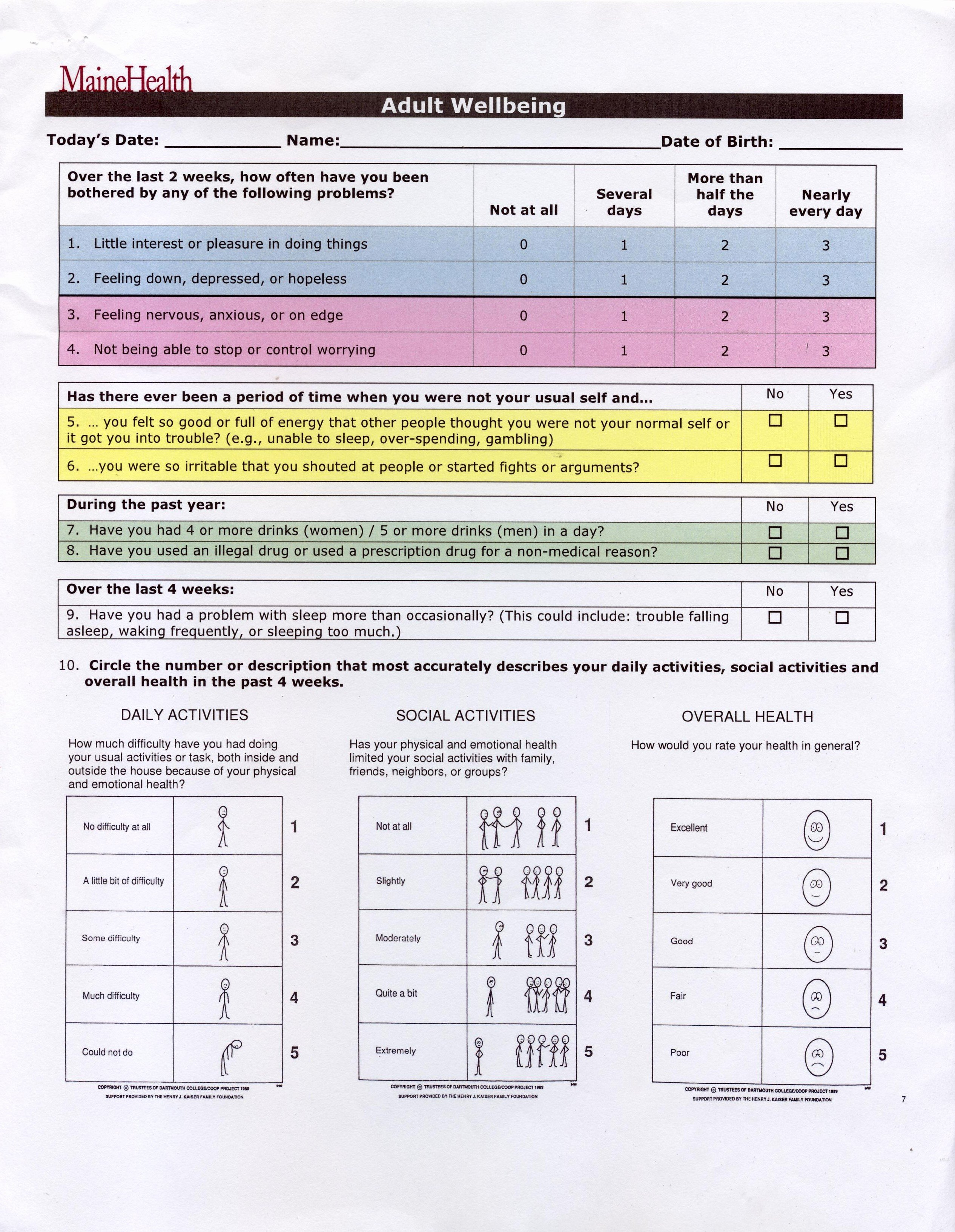 Mental Health Intake form Template Luxury Health assessment forms