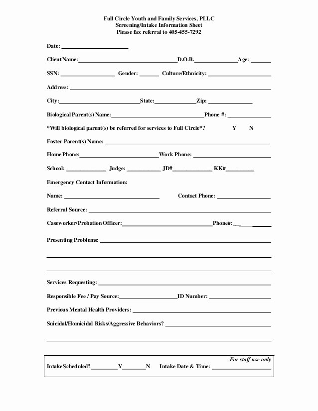Mental Health Intake form Template Luxury Referral Screening Intake form