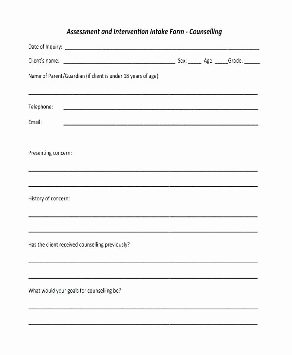Mental Health Intake form Template Unique Counseling Intake forms Templates – Energycorridor