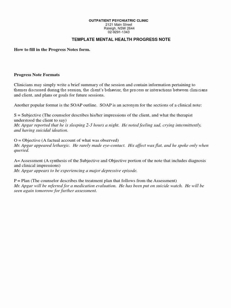 Mental Health Progress Note Template New Elegant Counseling Treatment Plan Template
