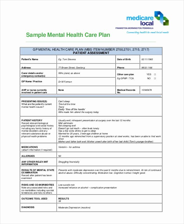 Mental Health Treatment Plan Template Inspirational 10 Healthcare Plan Templates Pdf Word