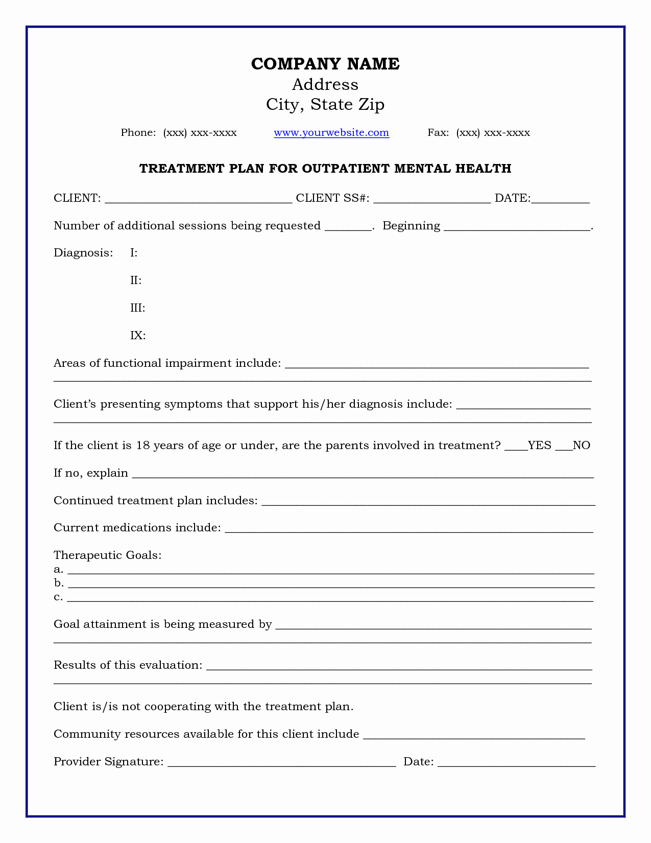 Mental Health Treatment Plan Template New Treatment Plan Template