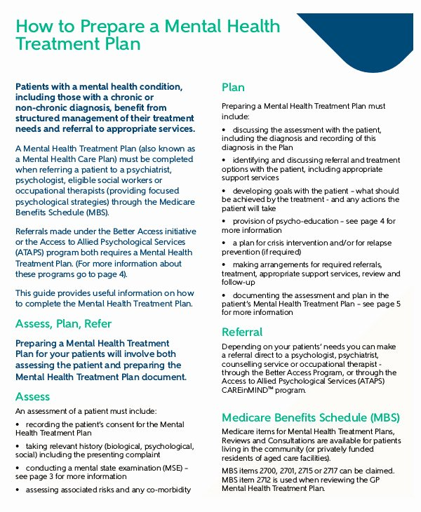 Mental Health Treatment Plan Template Unique 11 Mental Health Care Plan Templates Pdf Doc