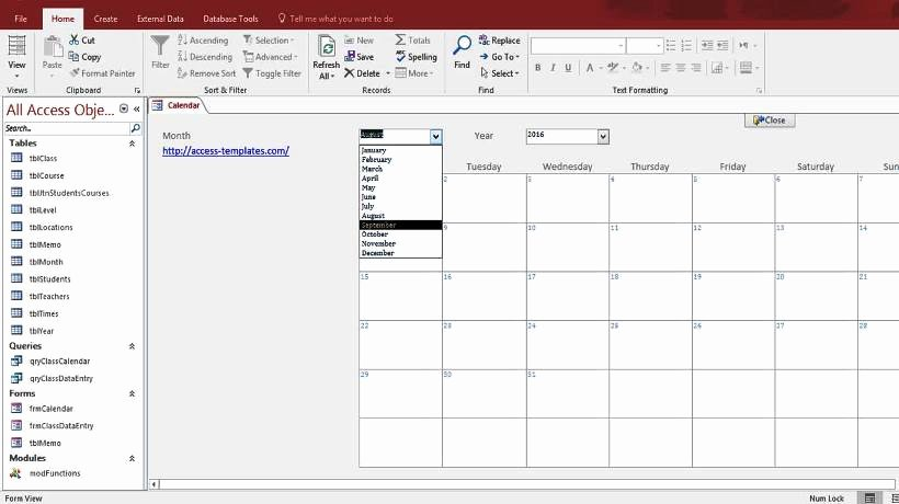 Microsoft Access Free Template Lovely Microsoft Access Calendar form Template for Microsoft