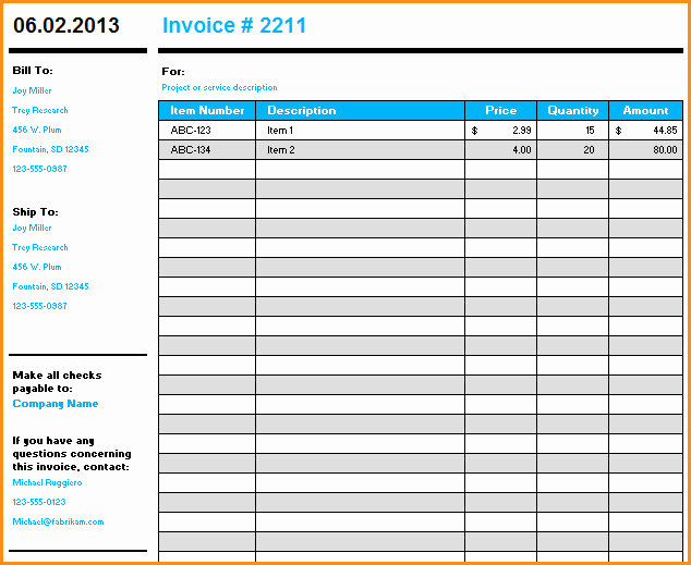 Microsoft Access Invoice Template Awesome 9 Microsoft Excel Invoice Template