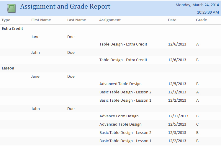 Microsoft Access Report Template Beautiful Microsoft Access Student assignment Grade Tracking