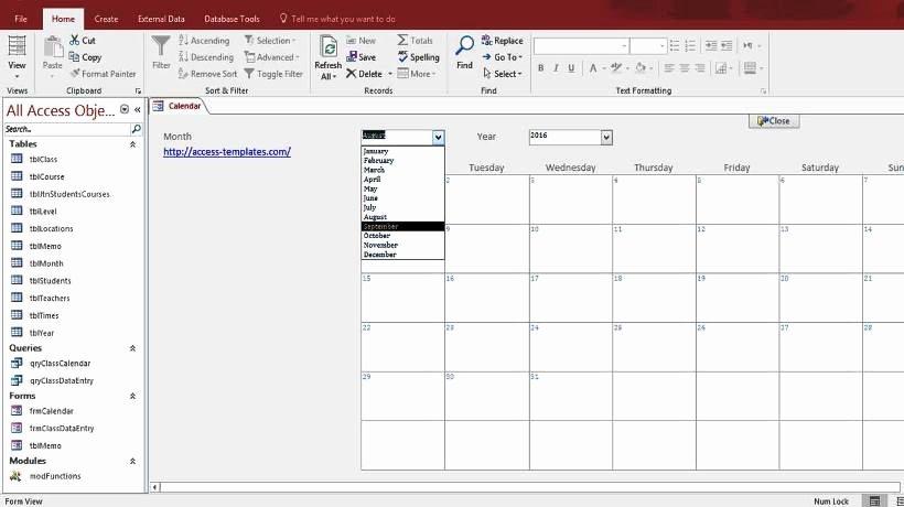 Microsoft Access Report Template New Microsoft Access Calendar form Template for Microsoft